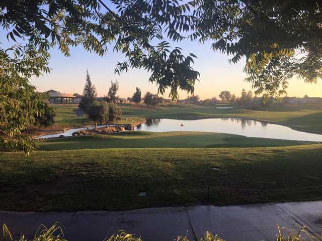 A view of a green with water coming into play  Rio Vista Golf Club.