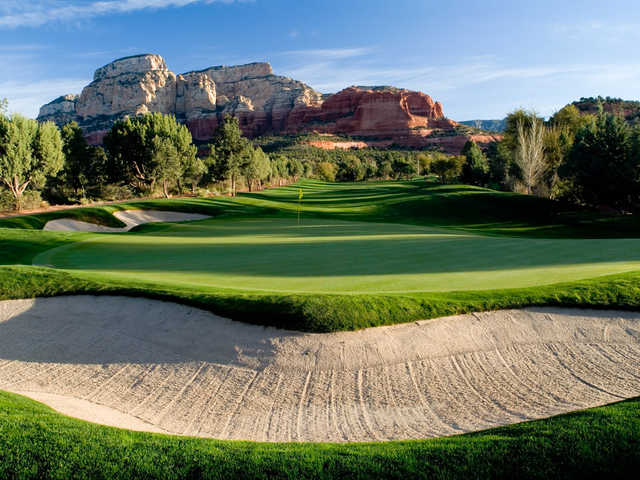 A view of the 16th green at Seven Canyons Golf Club.