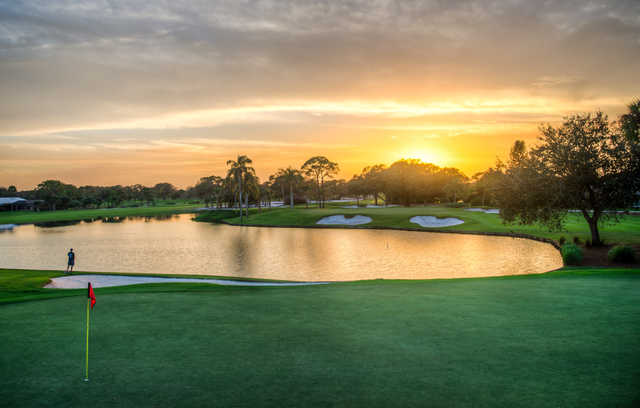 A sunset view of a hole at Turtle Creek Club.