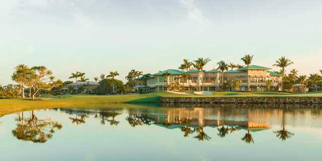 A view of a hole and the clubhouse at Island Country Club.