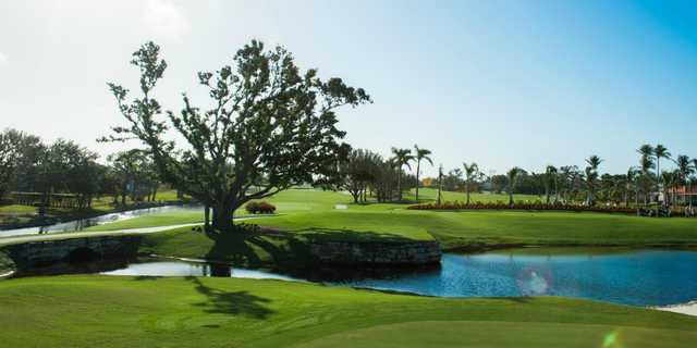 A view of a tee at Island Country Club.