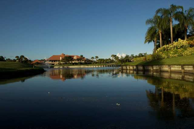 A view over the water of the clubhouse at Frenchman's Creek Beach & Country Club.