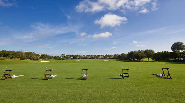 A view of the driving range at Woodfield Country Club.