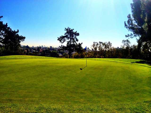 A sunny day view of a hole at Mission Trails Golf Course.