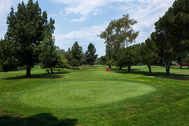 A view of a green at Heartwell Golf Course.