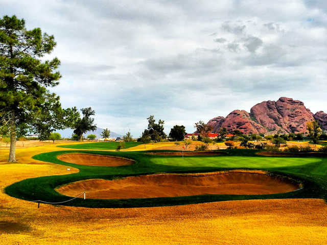 A view of a hole protected by bunkers at Papago Golf Course.