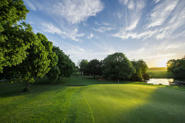 Looking back from the 17th green at The Hertfordshire Golf Club