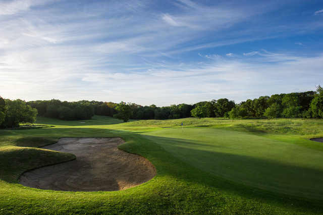 Looking back from the 14th green at The Hertfordshire Golf Club