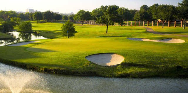 A view of a hole surrounded by bunkers at Hackberry Creek Country Club.