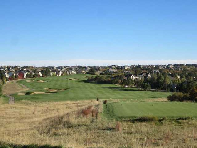 A view of tee #11 from The Ridge at Castle Pines North.