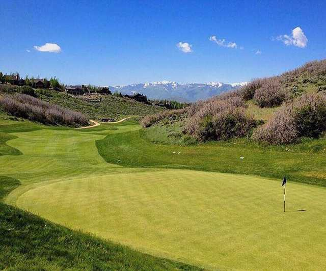 A view of a green at Painted Valley Golf Course from Promontory Club.