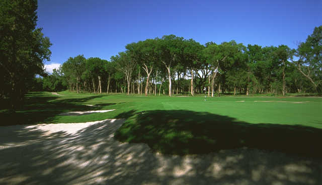 A view of a green at Twin Rivers Golf Club.