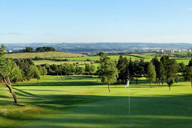 View from the 1st green looking down towards the 17th at Windyhill Golf Club