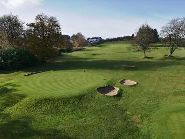 A view of a well protected hole at Ranfurly Castle Golf Club.