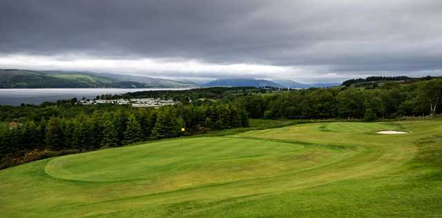A view of green #2 from tee #17 at Skelmorlie Golf Club.