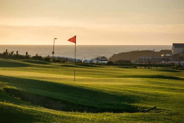 A view of a green at Bude & North Cornwall Golf Club.