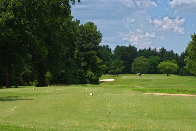 A sunny day view from a tee at Pinecrest Country Club.