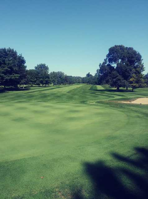 Looking back from a green at Alpena Golf Club