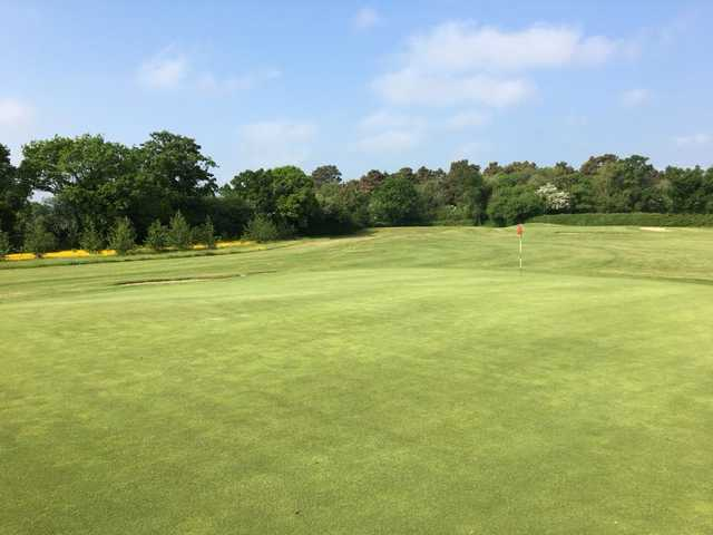 A sunny day view of a green at Callan Golf Club.