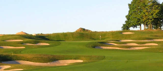 A view of a well protected green at A-Ga-Ming Golf Resort.