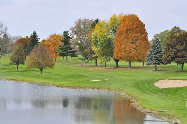 A fall day view of a fairway at Bonnie View Golf Course.