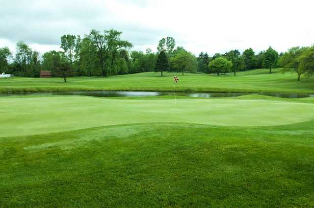 A view of a green with water coming into play at Bonnie View Golf Course.