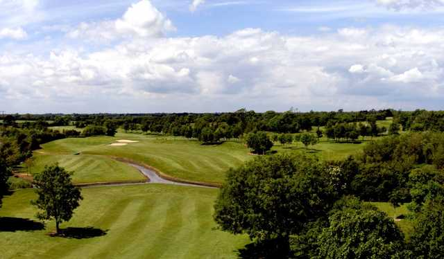 A view of the 2nd hole at River Course from Corrstown Golf Club.