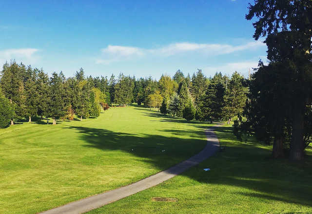 A view of a tee at Cowichan Golf and Country Club.