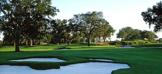 A view of hole #16 protected by bunkers at Brooksville Country Club