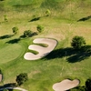 Aerial view of green protected by bunkers from Victoria Country Club.
