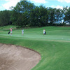 A view of green guarded by bunker at Peoria Ridge