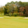 A view of a green protected by bunkers at Lake Course from Goose Pond Colony Resort