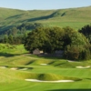 2nd green on the PGA Centenary Course at The Gleneagles Hotel is two tiered, narrow and rises from front to back