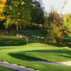A fall day view of a hole at Casperkill Golf Course