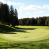 A view of a green and a tree lined fairway at Glen Cedars Golf Club