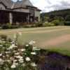A scenic view of the clubhhouse patio overlooking the putting green at The Shipley Golf Club