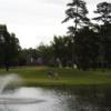 A view of a green with water coming into play at Northwood Hills Golf Course