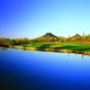 A view of a green with water and bunkers coming into play at Quintero Golf Club