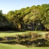 A view of a green with water coming into play at Robber's Row from Port Royal Golf Club