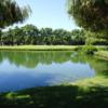 A view over the water of a hole at Sunnyvale Golf Course