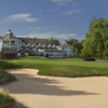 View of the 18th hole and clubhouse from PGA National Course at the Belfry Golf Club