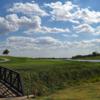 A view over a bridge at Mozingo Lake Recreation Park Golf Course.