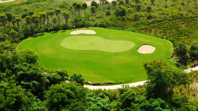 Aerial view of a green at Punta Blanca Golf & Beach Club