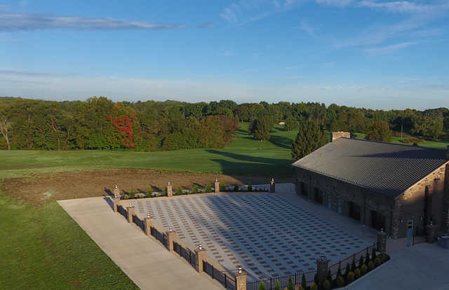 A view of the clubhouse and a fairway from Sunny Hill Golf & Recreation.