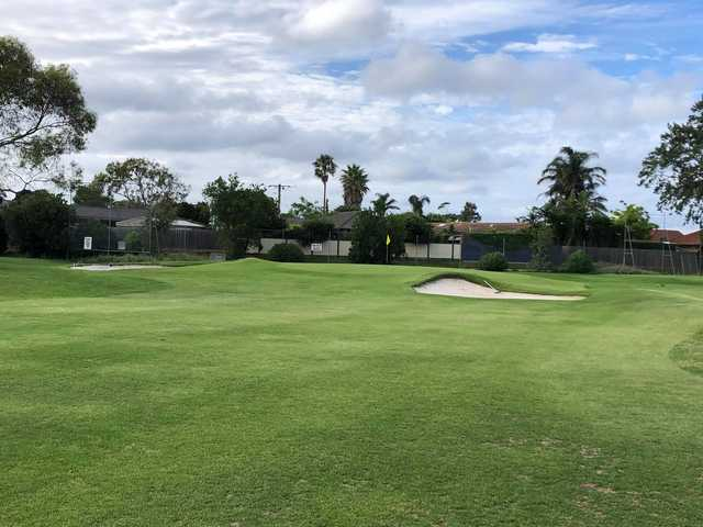A view of the 8th green at Edithvale Public Golf Course.