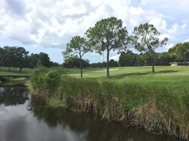 A view over the water of a hole from Clearwater Country Club.