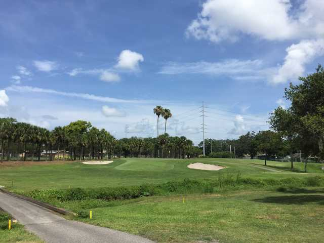 A sunny day view of a hole at Clearwater Country Club.