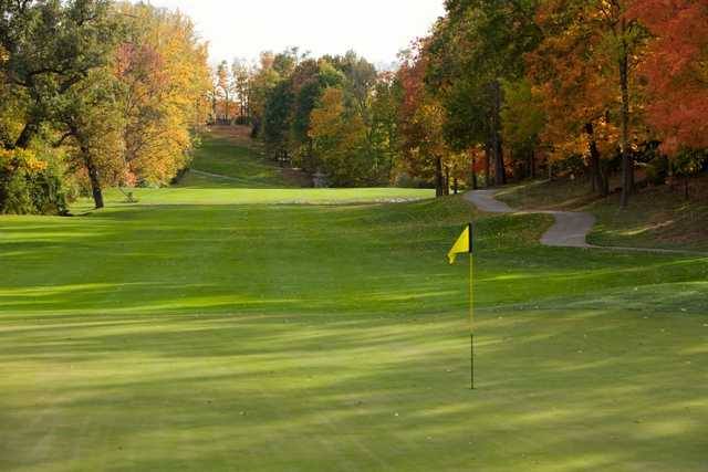 A fall day view of a hole at Beavercreek Golf Club.