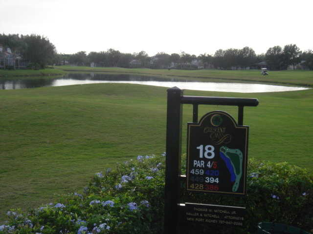 A view of hole #18 at Crescent Oaks Country Club
