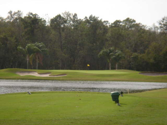 A view of the 3rd green at Crescent Oaks Country Club